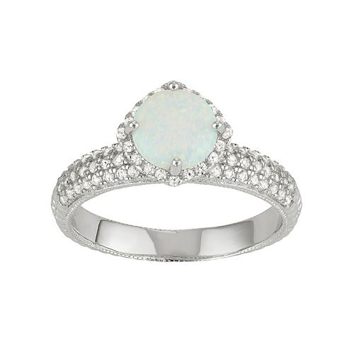 Sterling Silver Simulated White Opal & Lab-Created White Sapphire Halo Ring