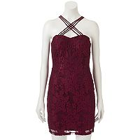 Juniors' Speechless Strappy Lace Bodycon Dress