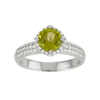 Sterling Silver Green Quartz & Lab-Created White Sapphire Halo Ring
