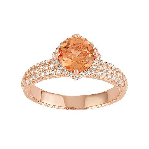 14k Rose Gold Over Silver Peach Quartz & Lab-Created White Sapphire Halo Ring