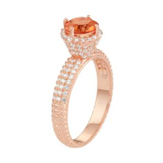 14k Rose Gold Over Silver Peach Quartz & Lab-Created White Sapphire Halo Ring