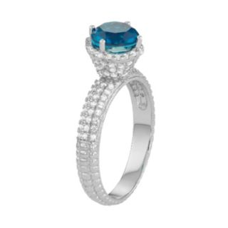 Sterling Silver Blue Quartz & Lab-Created White Sapphire Halo Ring