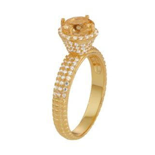 14k Gold Over Silver Citrine & Lab-Created White Sapphire Halo Ring