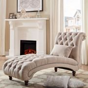HomeVance Tufted Chaise Lounge Chair & Pillow 2 pc Set