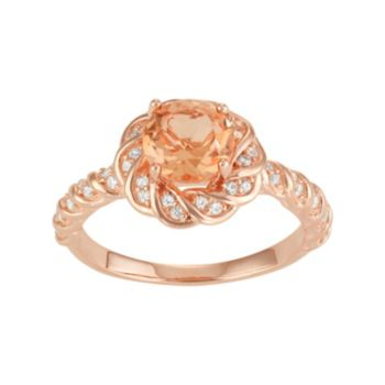 14k Rose Gold Over Silver Peach Quartz & Lab-Created White Sapphire Twist Halo Ring