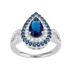 Sterling Silver Simulated Blue Sapphire & Lab-Created White Sapphire Teardrop Halo Ring