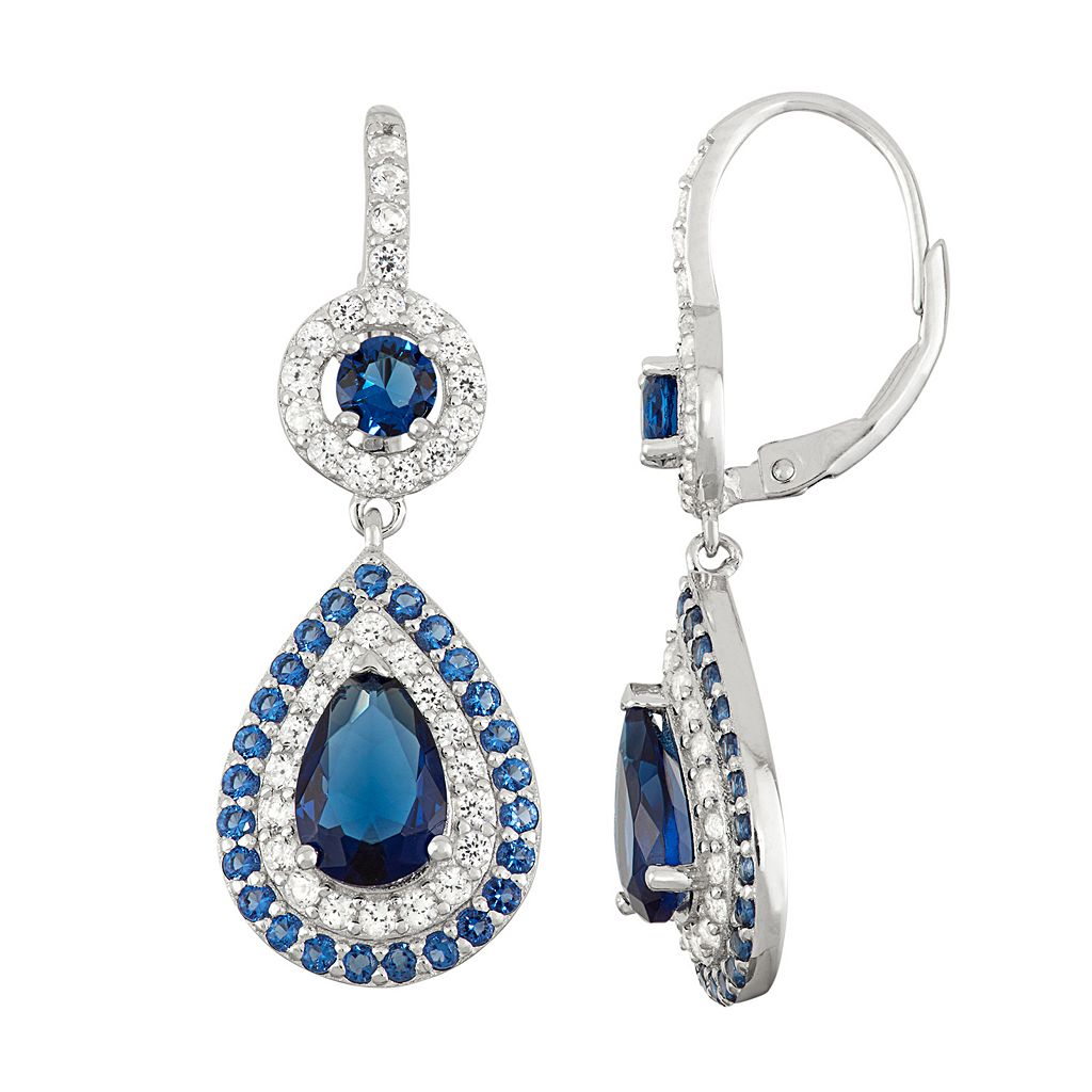 Sterling Silver Simulated Sapphire Teardrop Earrings