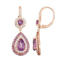 14k Rose Gold Over Silver Amethyst Teardrop Earrings