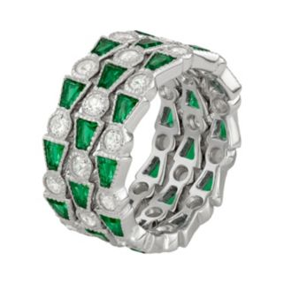 Sterling Silver Simulated Emerald & Lab-Created White Sapphire Stack Ring Set