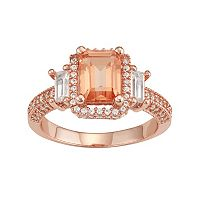 14k Rose Gold Over Silver Peach Quartz & Lab-Created White Sapphire 3-Stone Ring
