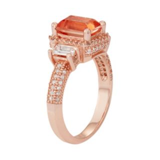 14k Rose Gold Over Silver Peach Quartz & Lab-Created White Sapphire 3-Stone Ring