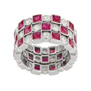 Sterling Silver Lab-Created Ruby & White Sapphire Stack Ring Set