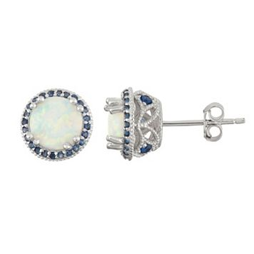 Sterling Silver Simulated Opal & Lab-Created Sapphire Halo Stud Earrings