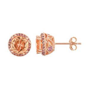 14k Rose Gold Over Silver Peach Quartz & Amethyst Halo Stud Earrings