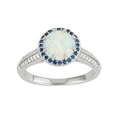 Sterling Silver Gemstone Halo Ring