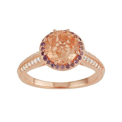 14k Rose Gold Over Silver Gemstone Halo Ring