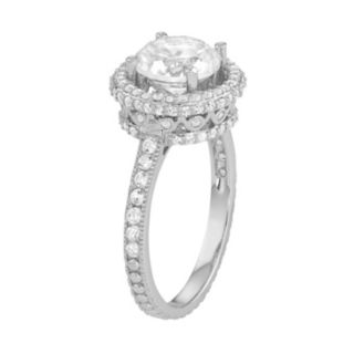 Sterling Silver Lab-Created White Sapphire Halo Engagement Ring
