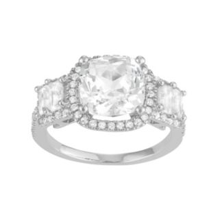 Sterling Silver Lab-Created White Sapphire 5-Stone Halo Engagement Ring