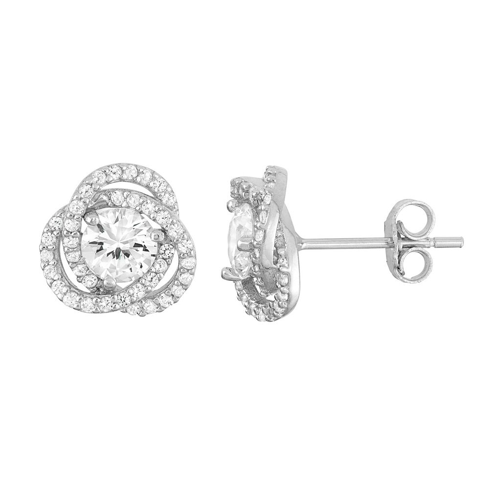 Sterling Silver Lab-Created White Sapphire Knot Stud Earrings