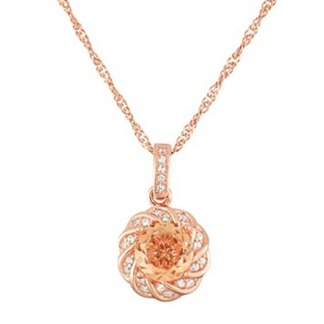 14k Rose Gold Over Silver Peach Quartz Flower Pendant