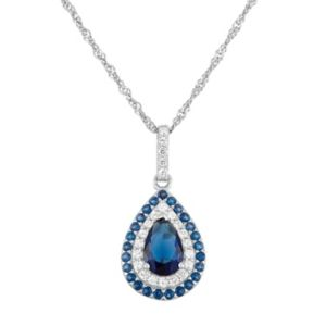 Sterling Silver Simulated Sapphire Teardrop Pendant
