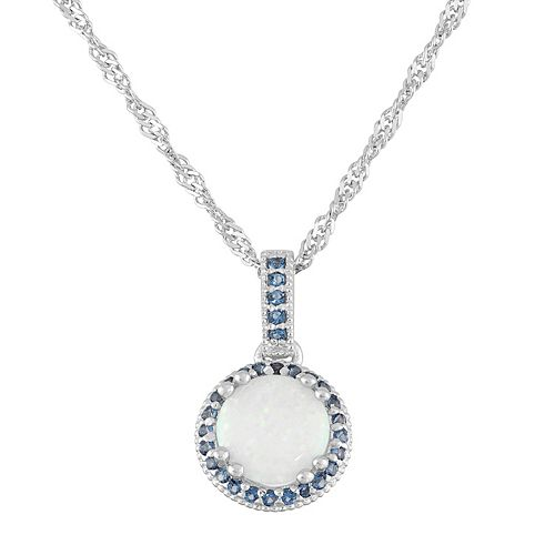 Sterling Silver Simulated Opal & Lab-Created Sapphire Halo Pendant