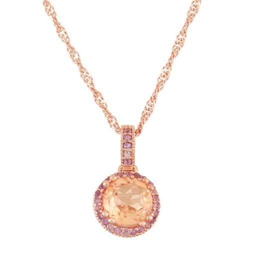 14k Rose Gold Over Silver Peach Quartz & Amethyst Halo Pendant