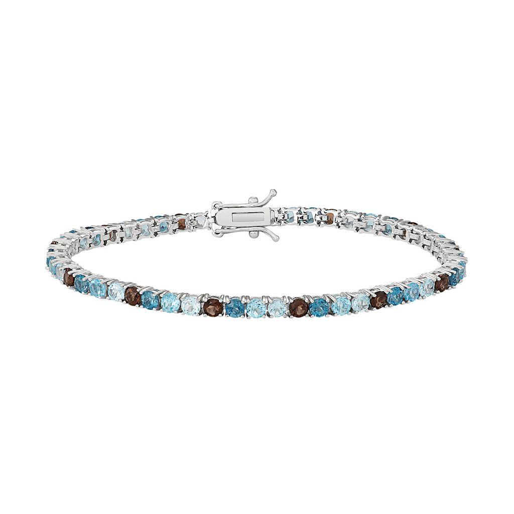 Sterling Silver Blue Topaz & Smoky Quartz Tennis Bracelet