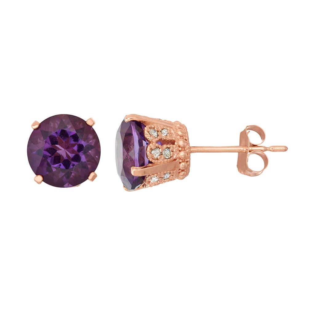 14k Rose Gold Over Silver Amethyst & Lab-Created White Sapphire Stud Earrings