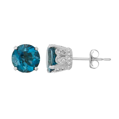 Sterling Silver Blue Quartz & Lab-Created White Sapphire Stud Earrings