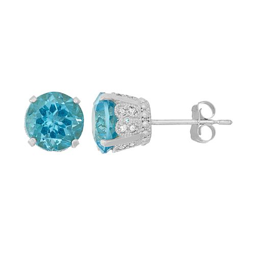 Sterling Silver Blue Topaz & Lab-Created White Sapphire Stud Earrings