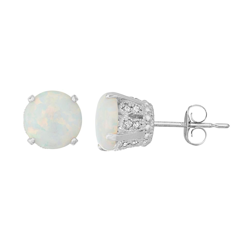 Sterling Silver Simulated Opal & Lab-Created White Sapphire Stud Earrings