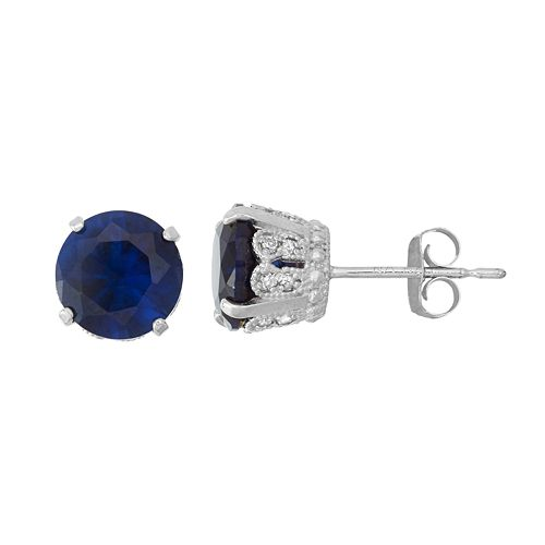 Sterling Silver Simulated Sapphire & Lab-Created White Sapphire Stud Earrings