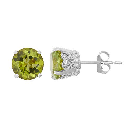 Sterling Silver Green Quartz & Lab-Created White Sapphire Stud Earrings