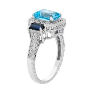 Sterling Silver Blue Topaz & Simulated Sapphire Rectangle Halo Ring