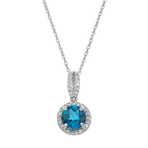 Sterling Silver Blue Quartz & Lab-Created White Sapphire Halo Pendant