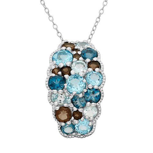 Sterling Silver Blue Topaz & Smoky Quartz Cluster Pendant