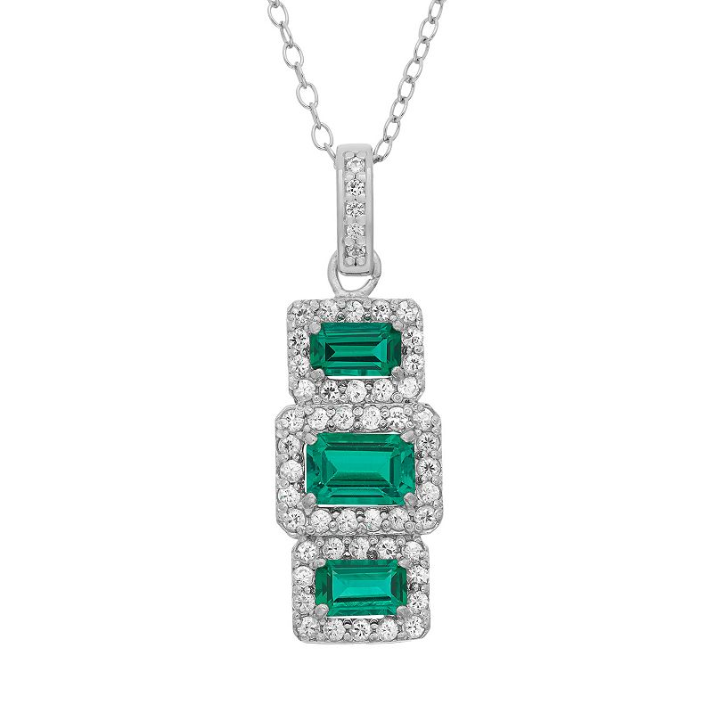 "Sterling Silver Simulated Emerald & Lab-Created White Sapphire Pendant, Women's, Size: 16"", Green"