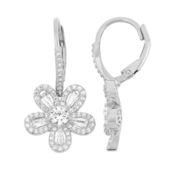 Sterling Silver Lab-Created White Sapphire Flower Drop Earrings