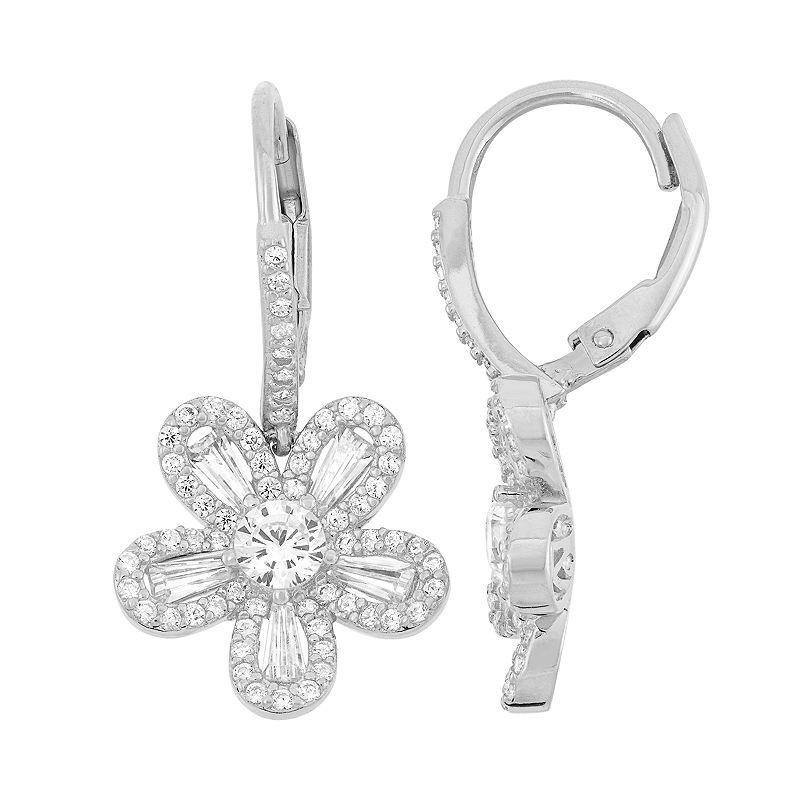 Sterling Silver Lab-Created White Sapphire Flower Drop Earrings, Women's