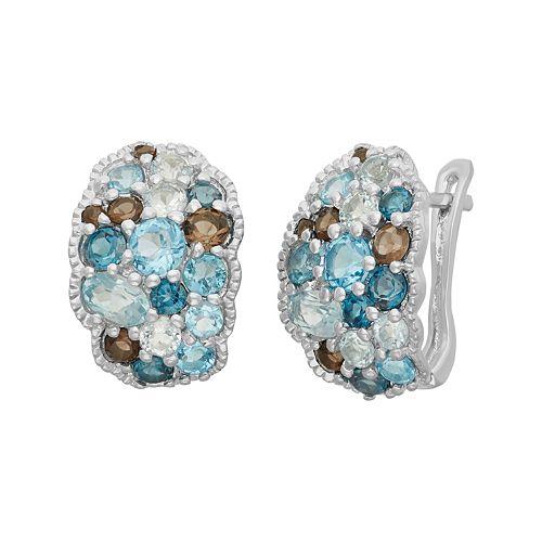 Sterling Silver Topaz & Quartz Cluster Drop Earrings