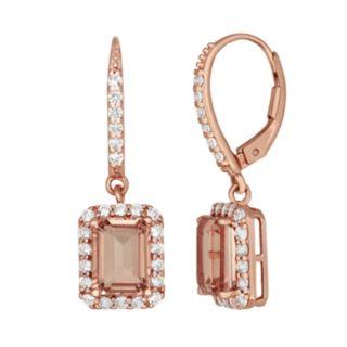 14k Rose Gold Over Silver Peach Quartz & Lab-Created White Sapphire Drop Earrings