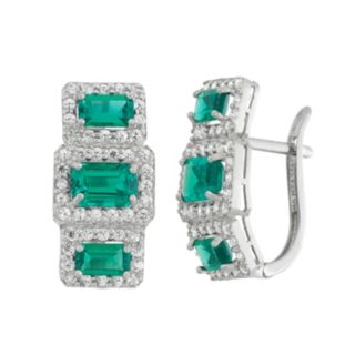 Sterling Silver Simulated Emerald & Lab-Created White Sapphire Drop Earrings