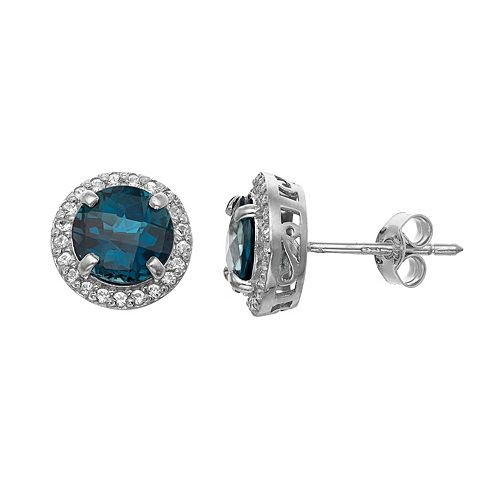 Sterling Silver Blue Quartz & Lab-Created White Sapphire Halo Stud Earrings