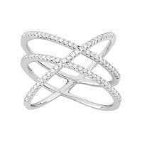 Sterling Silver Lab-Created White Sapphire Crisscross Ring