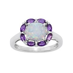 Sterling Silver Lab-Created Opal & Amethyst Ring