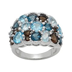 Sterling Silver Topaz & Quartz Cluster Ring