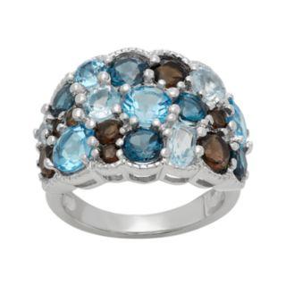 Sterling Silver Topaz & Quartz Cluster Ring