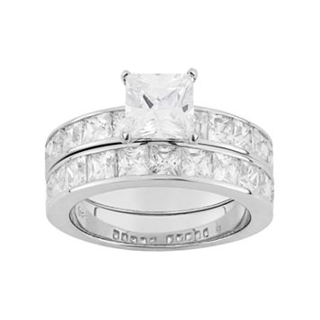 Sterling Silver Lab-Created White Sapphire Engagement Ring Set