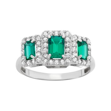 Sterling Silver Simulated Emerald & Lab-Created White Sapphire 3-Stone Ring
